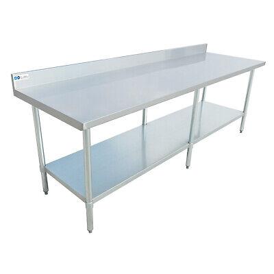 24 X 96 Stainless Steel Commercial Work Table 4 Backsplash Gal Legs