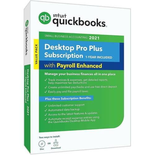 QuickBooks Desktop Pro Plus 2021 with Payroll Enhanced (1-Year Subscription)