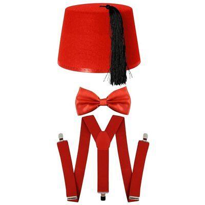 Doctor Who Fancy Dress Red Fez Hat Bow Tie Braces 3 Piece Set Costume (Fez Fancy Dress Kostüm)