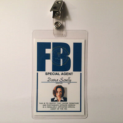 X FILES Dana Scully Badge ID Name Tag Card Costume Cosplay Prop Laminate for sale  Chicago