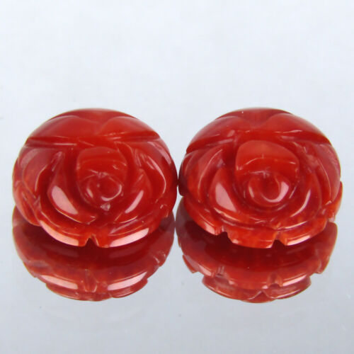 5.90CTS DAZZLING CARVING NATURAL ITALIAN CORAL 10mm 2PCS LOOSE GEMSTONE VIDEO