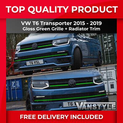VW T6 TRASPORTER 15-19 FRONT CLIP IN GRILLE & RADIATOR TRIM STREAMER GLOSS GREEN