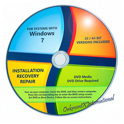 Windows 7 SP1 32 64 bit Reinstall All Install DVD Home Premium Pro Ultimate Disc