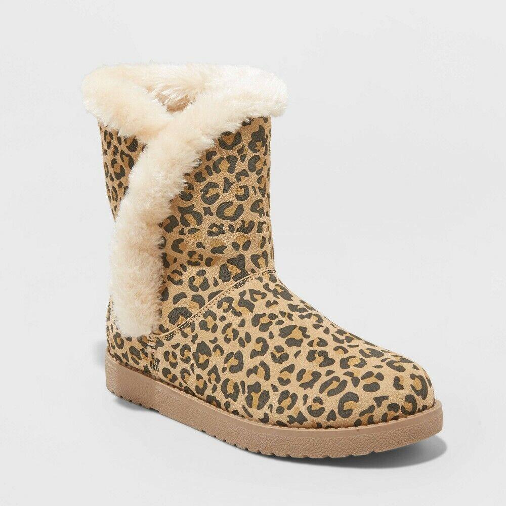 Women's Daniah Wide Leopard Print Suede Mid Boots – Universal Thread Brown 11W Boots