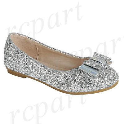 New girl's kids slip on glitter bow flower girl dress shoes flat wedding - Flower Girl Slip
