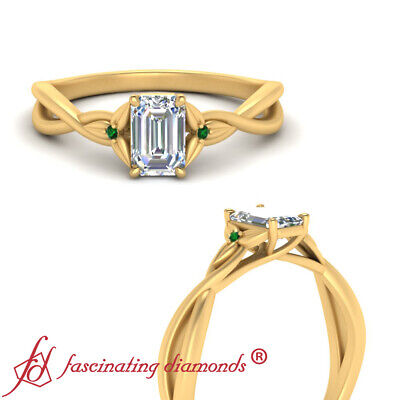 1/2 Carat Emerald Cut Diamond & Emerald Gemstone Infinity Twist Engagement Ring