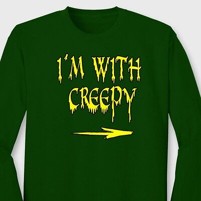 I'm With Creepy Funny Halloween Easy T-shirt Couple Costume Long Sleeve Tee](Easy Creepy Costumes)