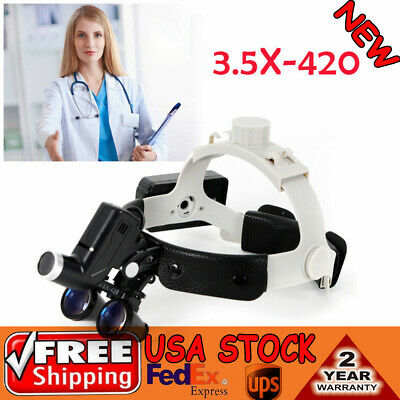 Dental 3.5x 420mm Binocular Loupes Head Wearing Surgical Magnifierled Headlight
