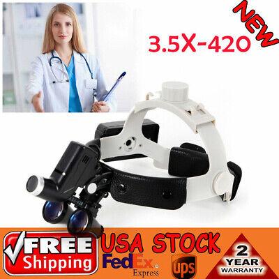 Medical Surgical Headband Magnifier Led Headlight W 3.5x420mm Binocular Loupes