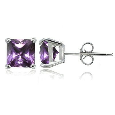 Sterling Silver Simulated Alexandrite 6mm Square Stud - Simulated Alexandrite Earring