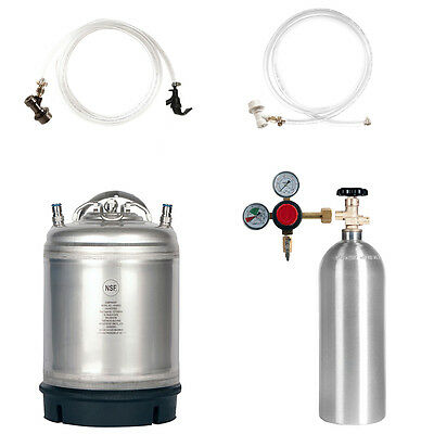 Keg Kit 2.5 Gal Ball Lock Keg 5 Lb. Co2 Tank Regulator Parts - Ships Free
