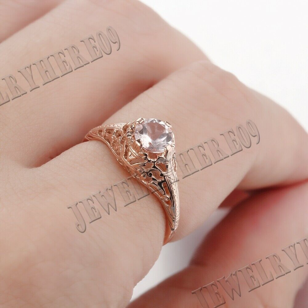 10K ROSE GOLD 5.5MM ROUND Morganite ENGAGEMENT WEDDING ENGRAVING ...