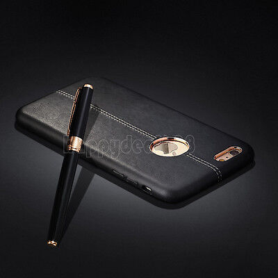 For iPhone XS Max XR 8 7 6 Plus Slim Genuine Shockproof  Leather Back Case Cover