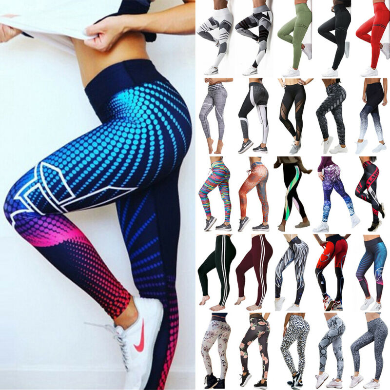 Women High Waist Yoga Pants Butt Lift Leggings Workout Ruched Booty Gym Trousers 3