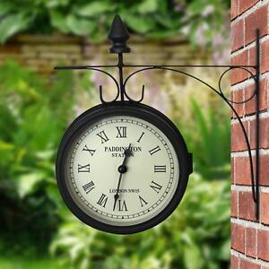 OUTDOOR GARDEN PADDINGTON STATION OUTSIDE BRACKET WALL CLOCK 15CM DOUBLE SIDED