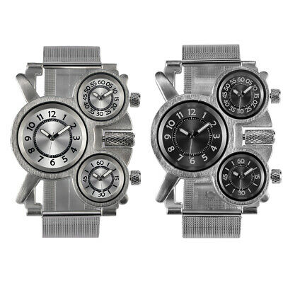 QUALITY Men's Watch Stainless steel Metal Mesh Strap Multi Time Zone Analog