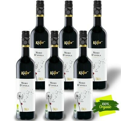 6 x 75cl Käfer Nero d´Avola 13,5% BIO Vegan Rotwein Italy DOC trocken DE-ÖKO-039