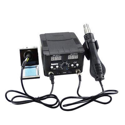 Soldering Desoldering Digital Rework Station Hot Air Iron Gun 2in1 Smd Welder