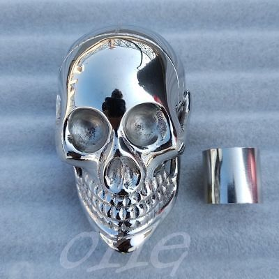 Solid Brass Chrome Finish Heavy Skull Handle for Wooden Walking Cane / Stick New