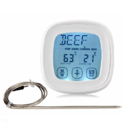 Magnetic Digital LCD Meat Alarm Probe Oven Thermometer Timer Clock Touch Screen