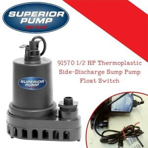 Used Superior Pump 91570 1/2 HP Thermoplastic Side-Discharge Sump Pump, Float Switch Condtion: Used, Missing one piece