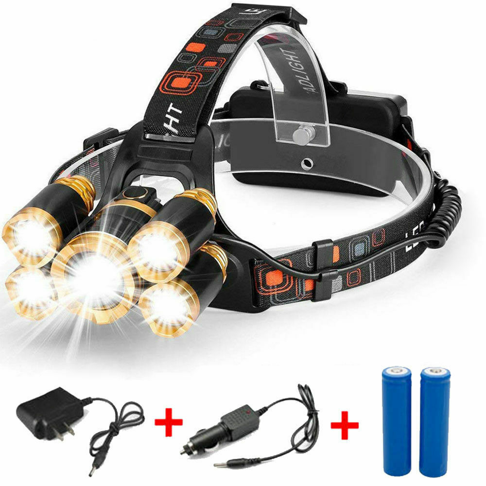80000LM 5-LED Zoom LED Rechargeable 18650 Headlamp Head Light Torch Charger US Camping & Hiking