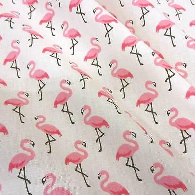 Stoff Baumwolle Meterware Flamingo weiß creme rosa pink Vogel Neu 2017