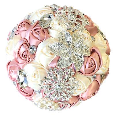 Blush Pink Bride Wedding Brooch Bouquet Satin Rose Jewel Rhinestone Ribbon Décor ()