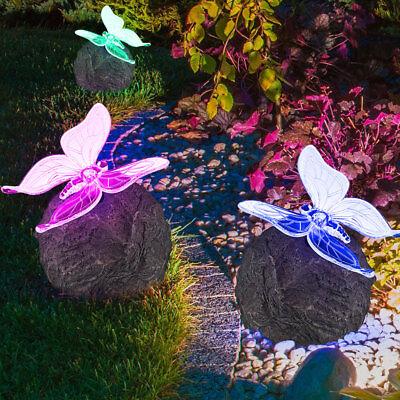 3er Set LED Solar Leuchte mit Farbwechsler Schmetterling Garten Terrasse Lampe