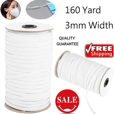 160Yards DIY WHITE Braided Strength Cord Band Elastic Rope Stretch Knit 3mm Wide