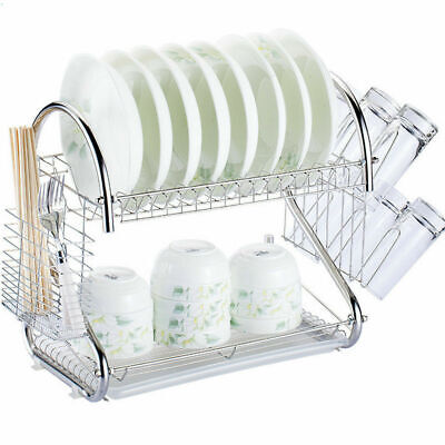 2-Tier Multi-function Stainless Steel Dish Drying Rack,Cup D