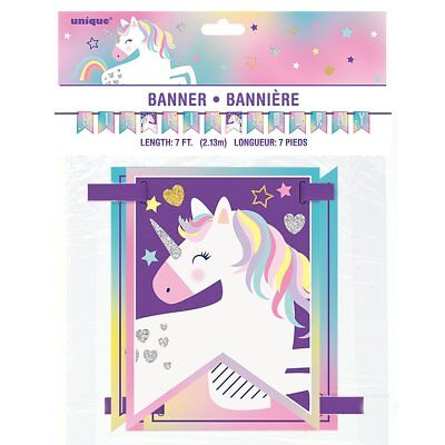 7ft Unicorn Hip Hooray Pennant Banner Girls Birthday Party Decoration Purple ()