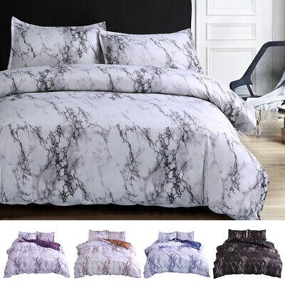 3 Pieces Set Comforter / Duvet Cover Quilt Marble Printed Microfiber Queen -