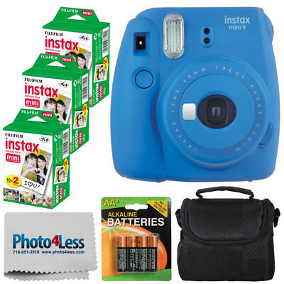 Fujifilm Instax Mini 9 Instant Camera (Cobalt Blue) + Instax 60 + Value Bundle!