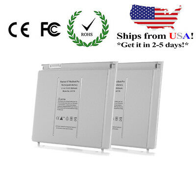 "2x 6 Cell Battery A1175 For Apple Macbook Pro 15"" A1260 2..."