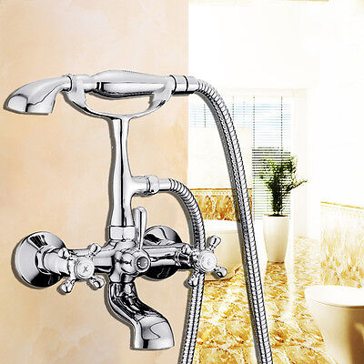 Classic Clawfoot Bathtub - Classic Chrome Clawfoot Bath Tub Bathroom Faucet with Hand Sprayer 2 Handles