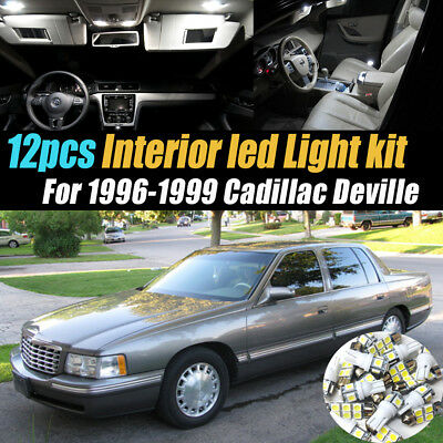 12Pc Super White Car Interior LED Light Bulb Kit for 1996-1999 Cadillac DeVille