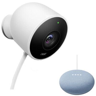 Google Nest NC2100ES Outdoor Security Camera, White Bundle w/ Google Home Mini
