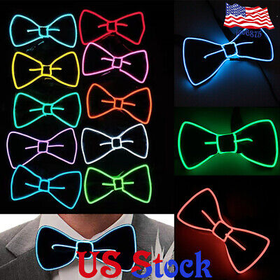EL Bow Tie LED Light Christmas Halloween New Years Music Festival Rave Party US - Lighted Bow Tie