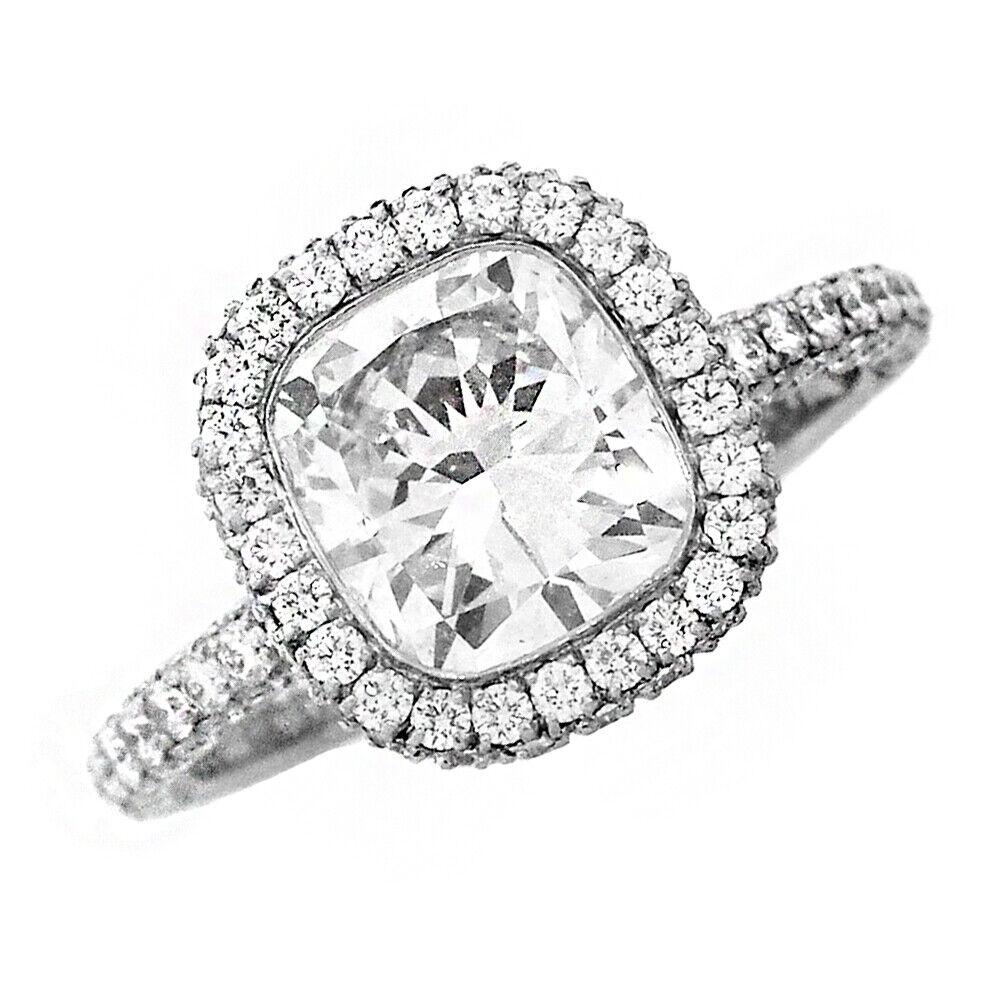 GIA Certified Diamond Engagement Ring 18k White Gold 3.73 carat total Cushion