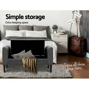 Alia Grey Fabric Storage Ottoman