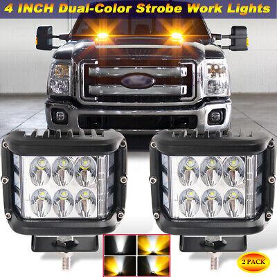 "Pair 4"" LED PODS Amber White Strobe Dual Color Work Lights for Truck Pickup SUV"