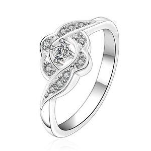 Placcato-Argento-Fiore-Zircone-anello-di-fidanzamento-17-5-mm-misura-O-FR245