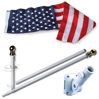 Home Flag Set (American Home Nylon 3x5 Ft US Flag Set w/ 6-Feet Spinning Flag Pole)