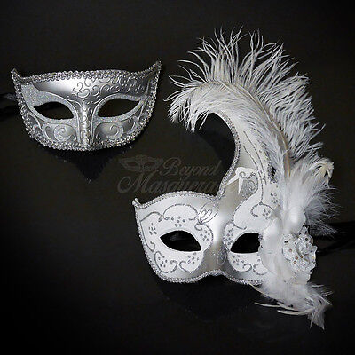 His & Hers Couple Masquerade Mask, Silver & White Themed Venetian Mask - Masquerade Themes
