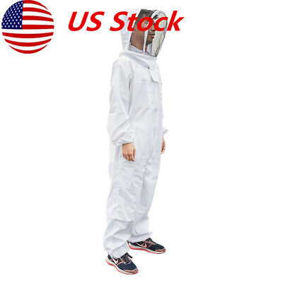 New Professional Cotton Full Body Beekeeping Bee Keeping Suit W Veil Hood Xxl