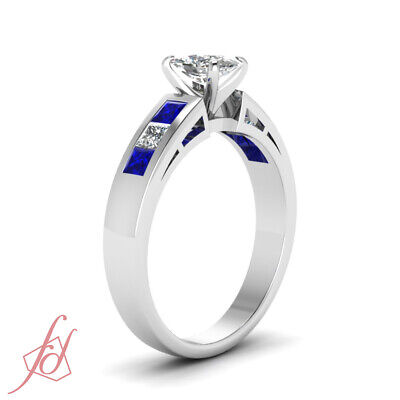 Blue Sapphire And Diamond Rings With 1.35 Ct Cushion And Princess Cut 14K GIA 2