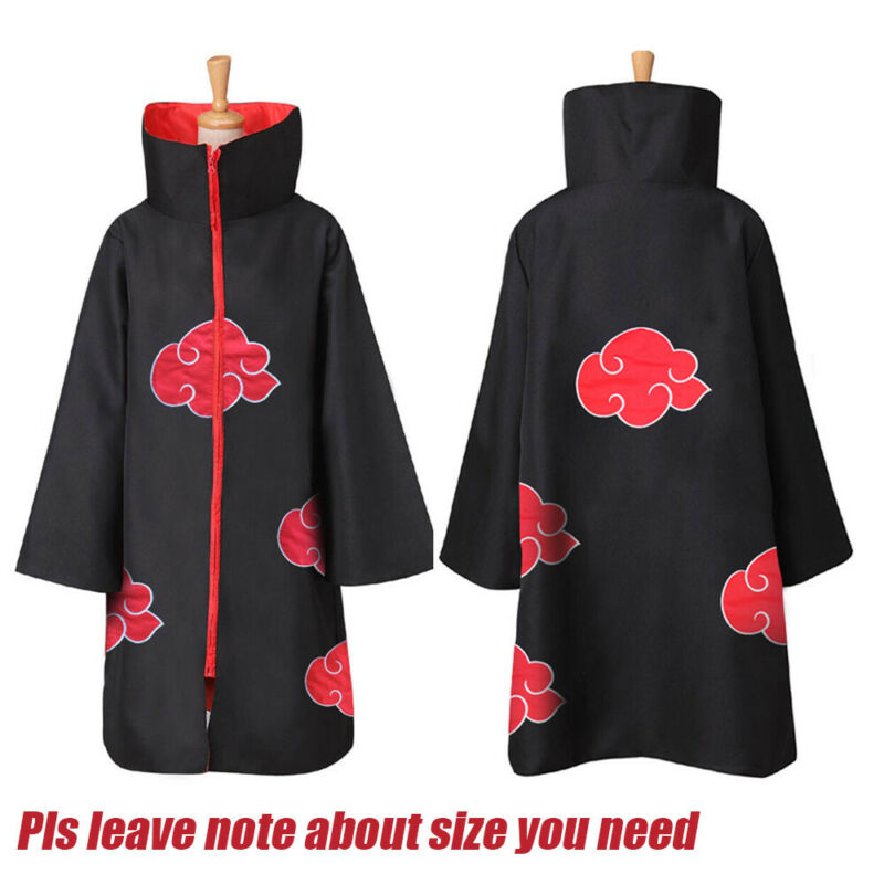 US Anime NARUTO Uchiha Itachi Cosplay Costume Cloak Akatsuki Ninja Wind Coat Set