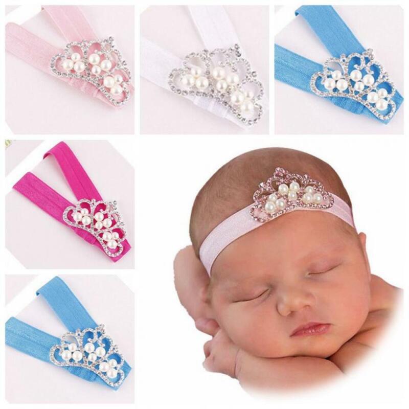 Doux Enfants Princesse Bébé Bandeaux Nylon Fleur Hairband Pearl Turban