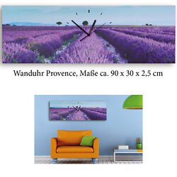 XXL Wall Clock Provonce on Canvas - Mural Leinwanduhr Lavender Italy